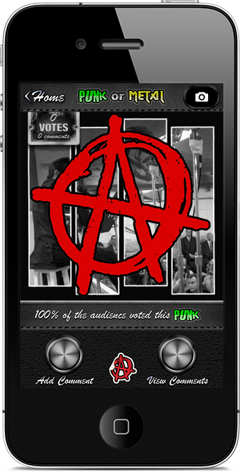 Punk or Metal iPhone App Vote Screen