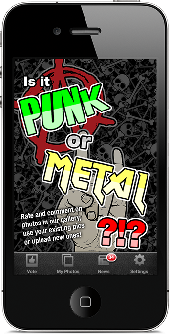 Punk or Metal iPhone App Start Screen